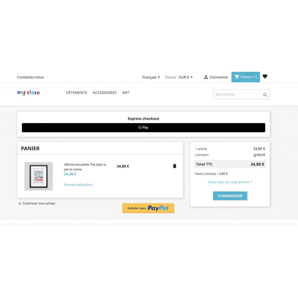module - Processus rapide de commande - Apple Pay / Google Pay - 1 Click Checkout - 3