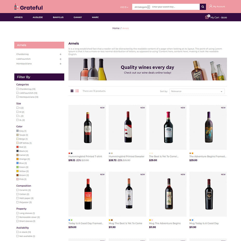 theme - Drink & Wine - Grateful Wine - Negozio di vini rossi di birra alcolica - 4