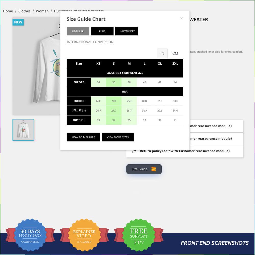 module - Grandezze & Unità di misura - Size Guidance - Product Size Chart - 2