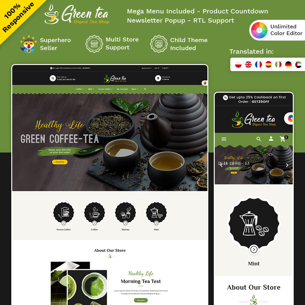 theme - Gesundheit & Schönheit - Green Tea - Digest Tea Shop - 1