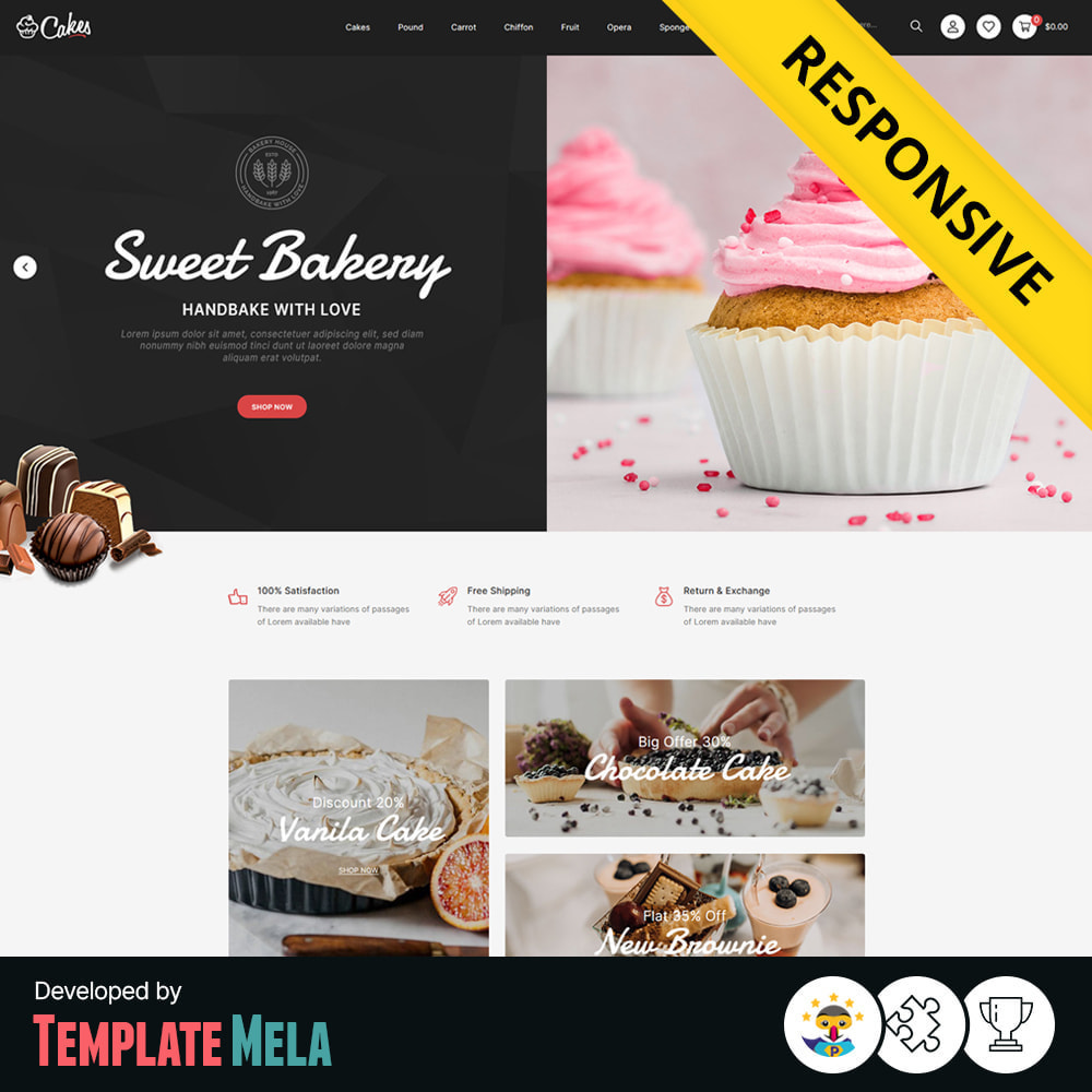 theme - Food & Restaurant - Cakes - Cake & Chocolate Store - 1