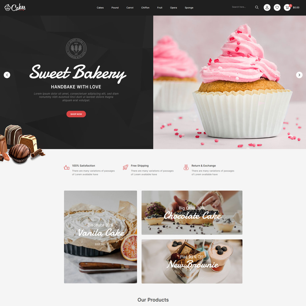 theme - Food & Restaurant - Cakes - Cake & Chocolate Store - 2