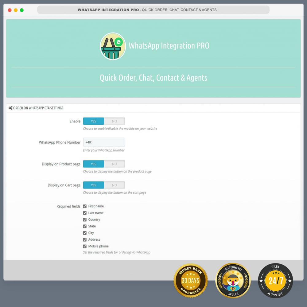 module - Support & Chat Online - Intégration WhatsApp PRO - Commande rapide, chat,agents - 3