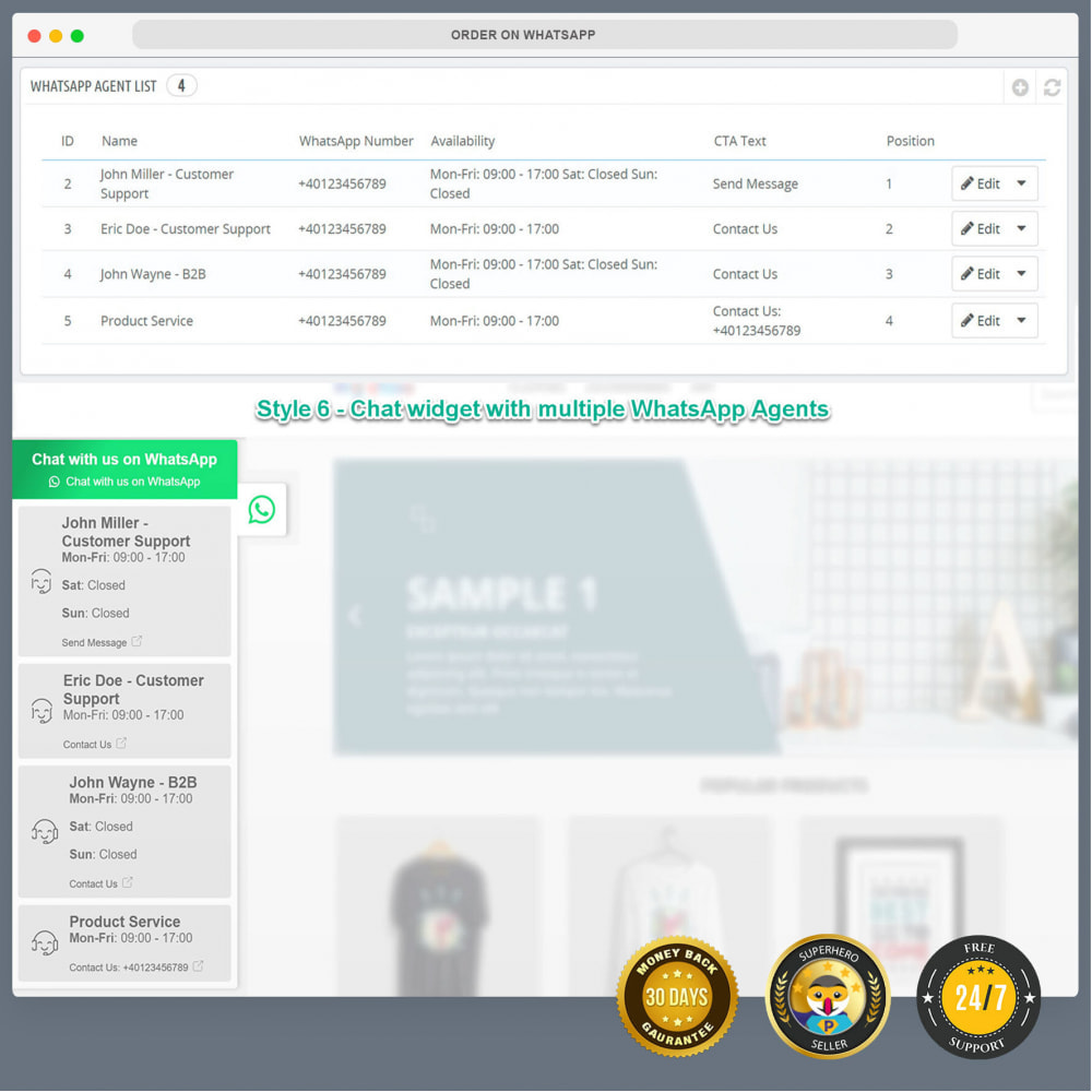 module - Ondersteuning & Online chat - WhatsApp Integration PRO - Bestil, chat, agenter - 17