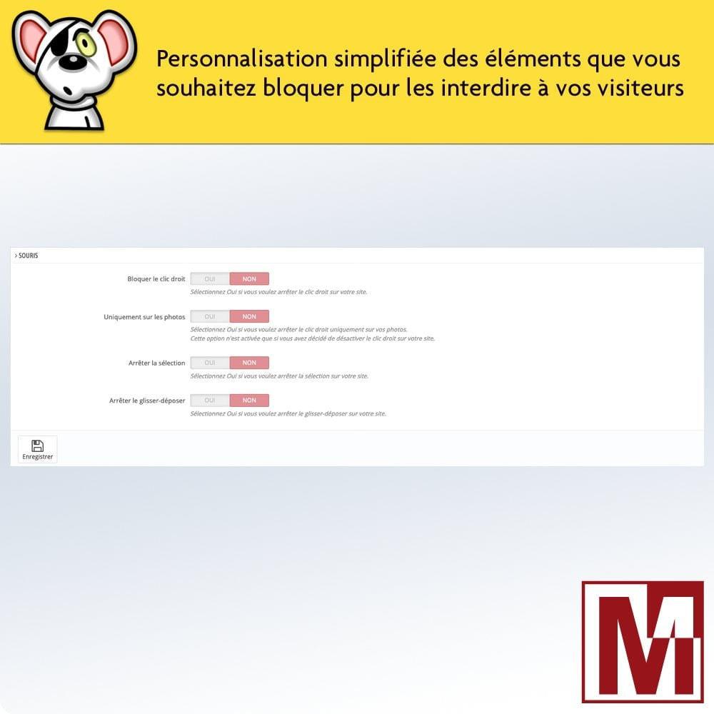 module - Sécurité & Accès - Interdire le clic droit et sécuriser les données - 2