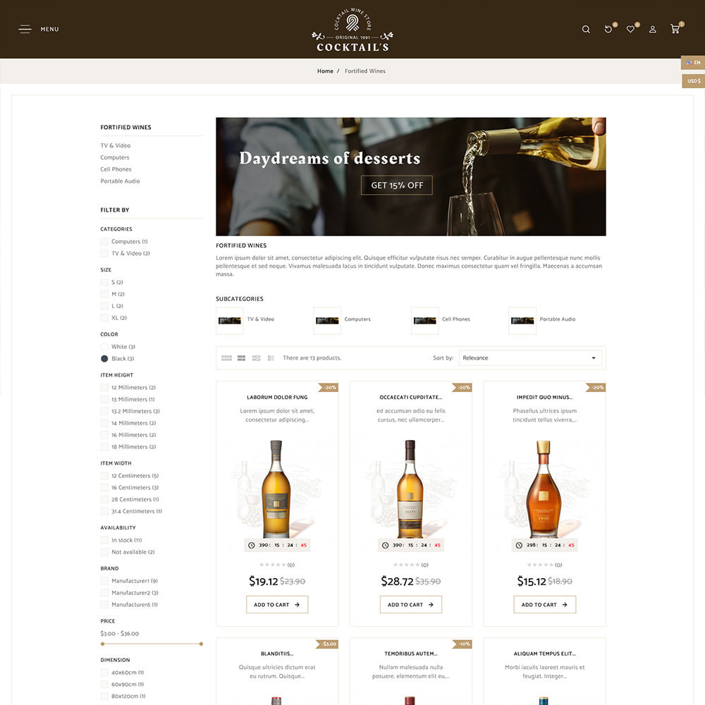 theme - Bebidas y Tabaco - Cocktail - Wine – Alcohol Cigarettes Drink Store - 4