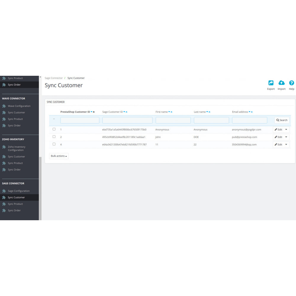 module - Third-party Data Integration (CRM, ERP...) - Sage Connector - 2