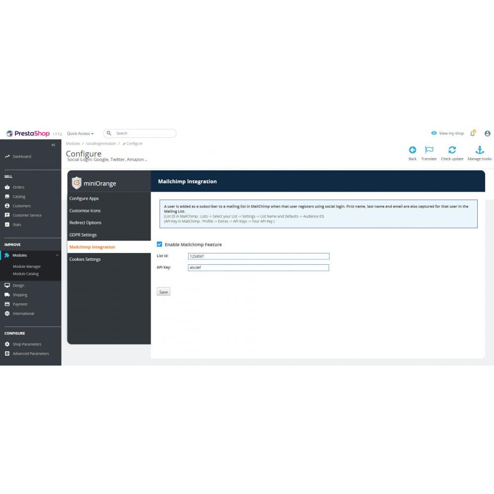 module - Social Login & Connect - Social Login & Connect, Register via +20 Apps,Mailchimp - 6