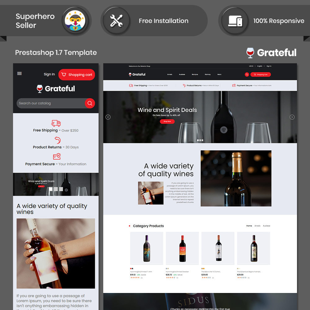 theme - Drink & Tobacco - Grateful Wine - Drink  Alcohol Coffee Store - 1