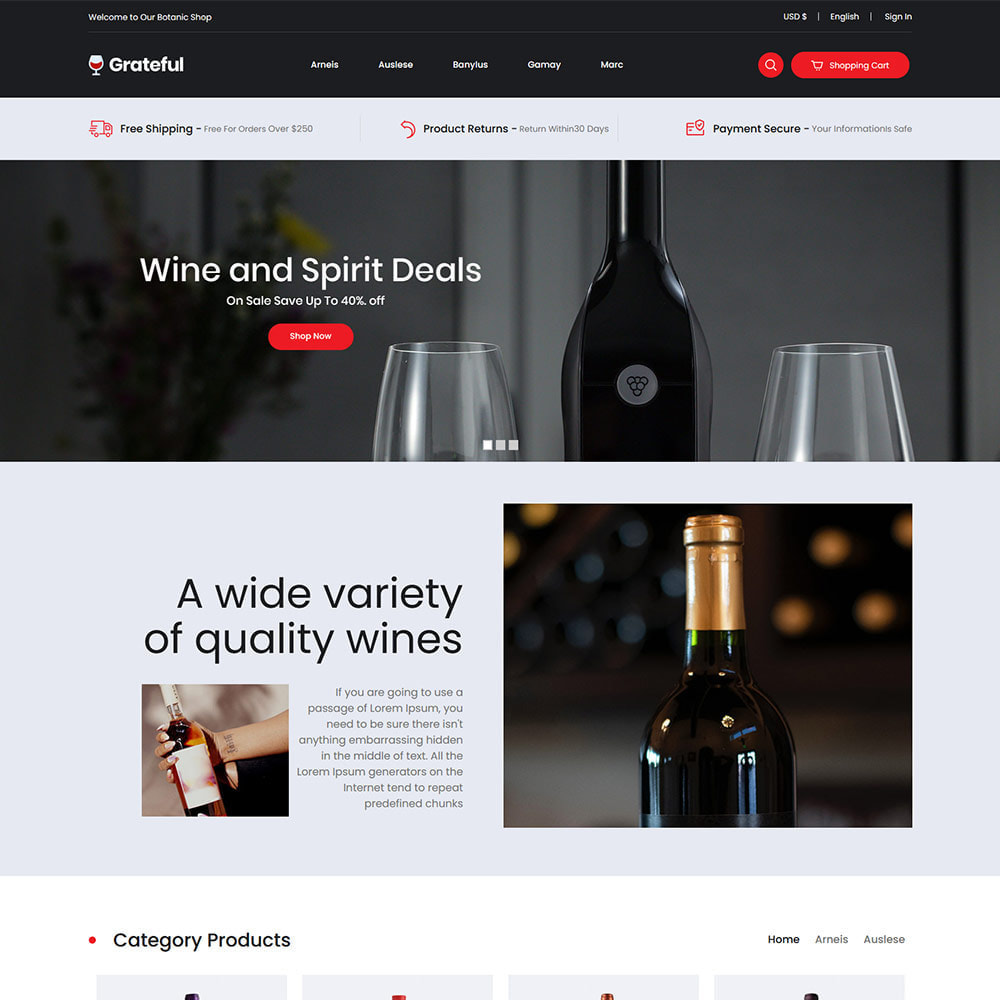 theme - Drink & Tobacco - Grateful Wine - Drink  Alcohol Coffee Store - 2