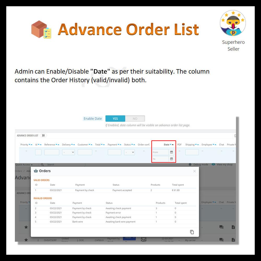 module - Order Management - Advance order list-configurable/ fast view - 12