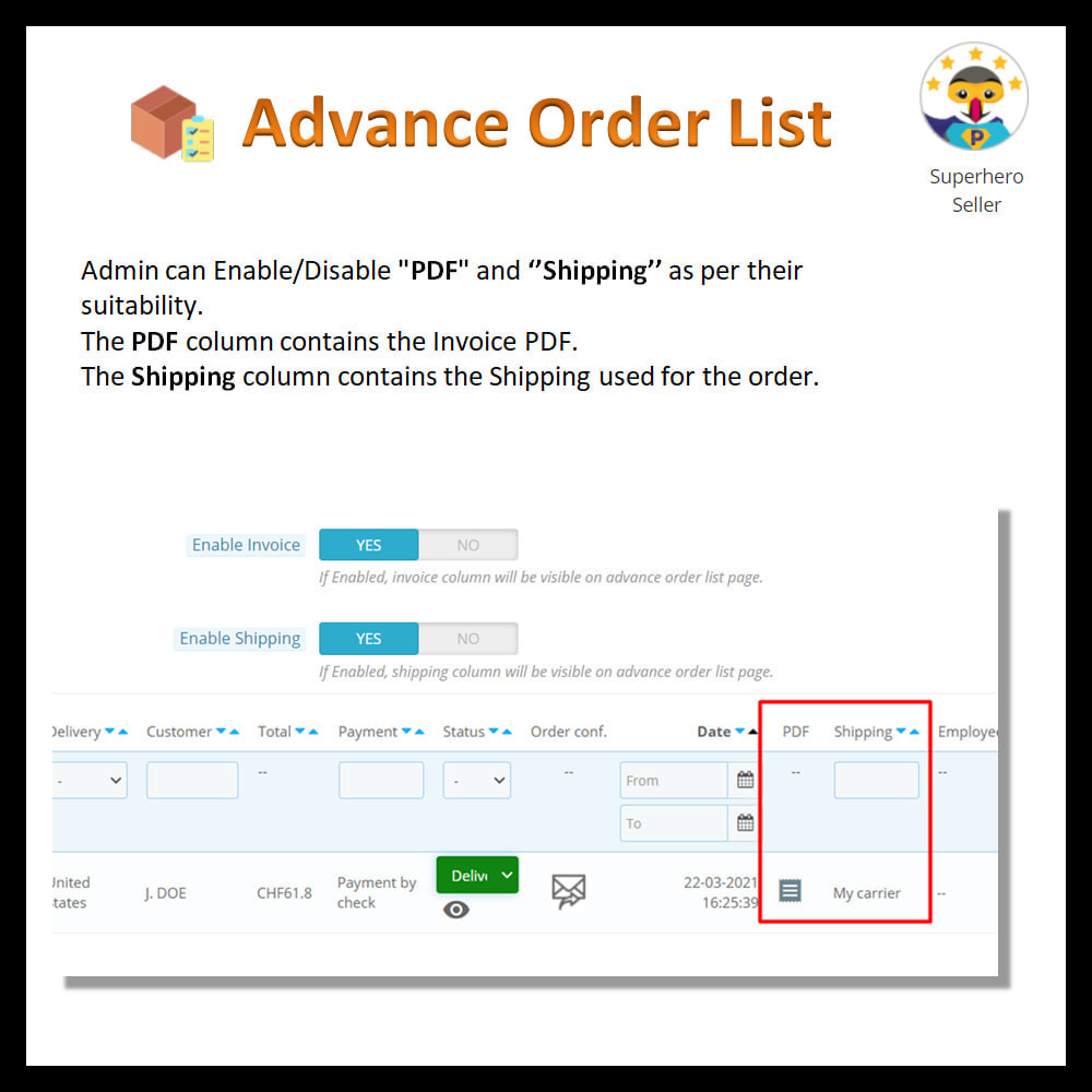 module - Order Management - Advance order list-configurable/ fast view - 13