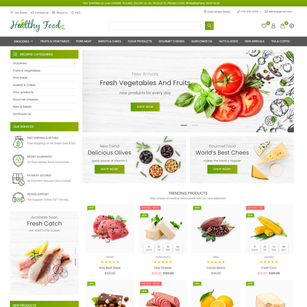 theme - Food & Restaurant - Healthy Food - Supermarket, Restaurant, Organic, Wine - 2
