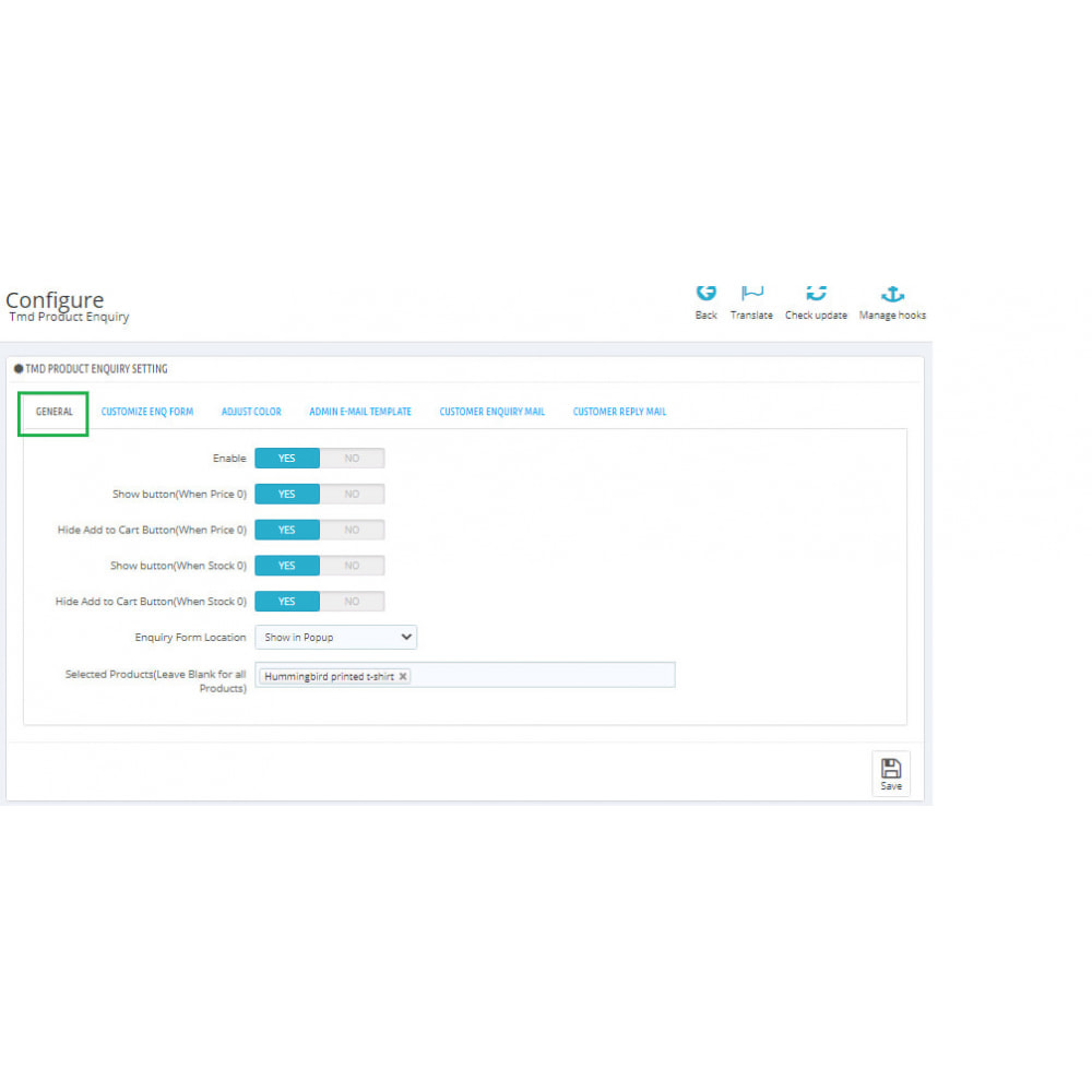 module - Amministrazione - Product Enquiry - 1