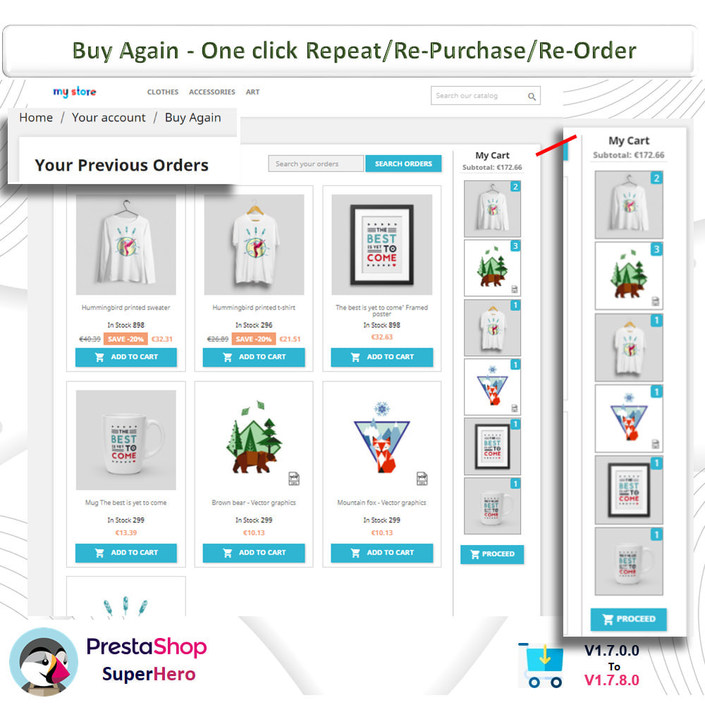 module - Bestelproces - Buy Again- One click Repeat/Re-Purchase/Re-Order - 3