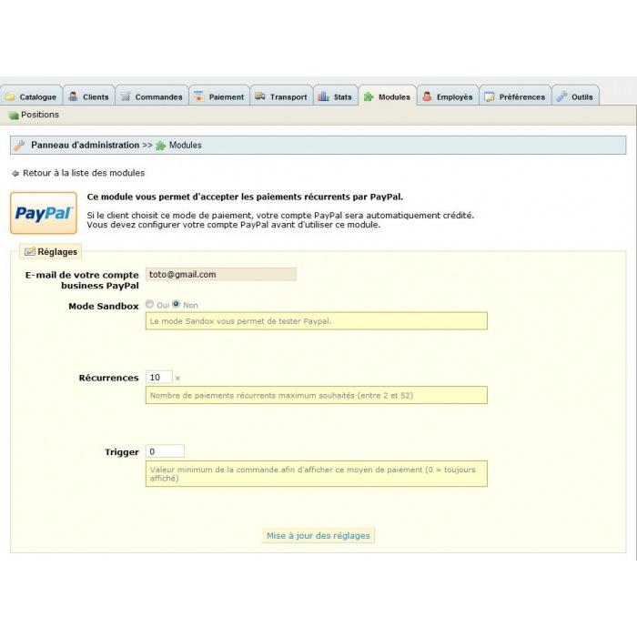 module - Оплата банковской картой или с помощью электронного кошелька - PayPal Rec - 1