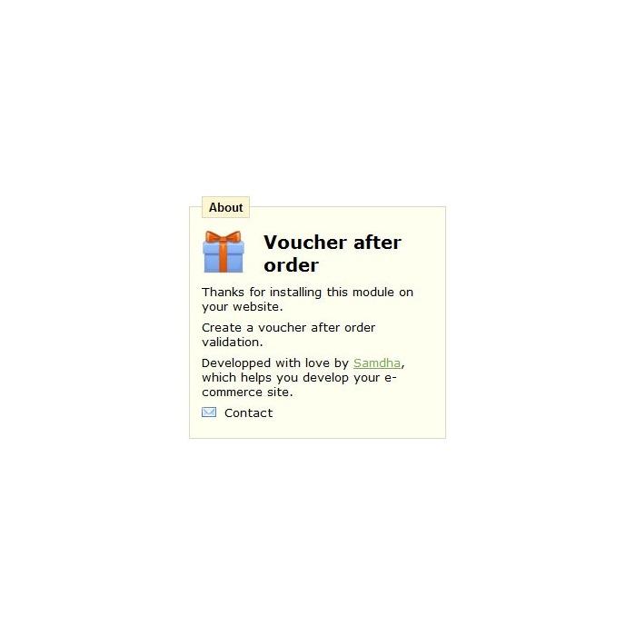module - Реклама и Маркетинг - Voucher after order - 1