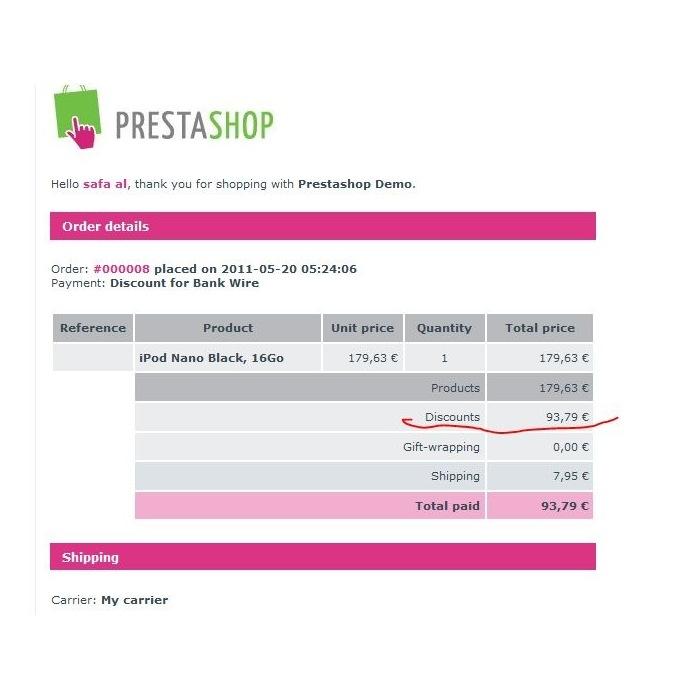 module - Pago por Transferencia - Bankwire with Discount - 2
