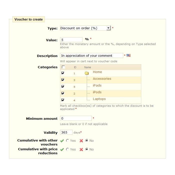 module - Kundenbewertungen - Voucher on comment - 2