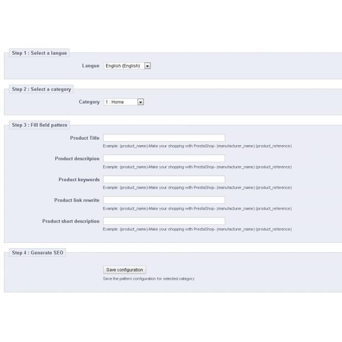 module - SEO (référencement naturel) - SEO (Référencement) - PrestaShop 1.4 - 3