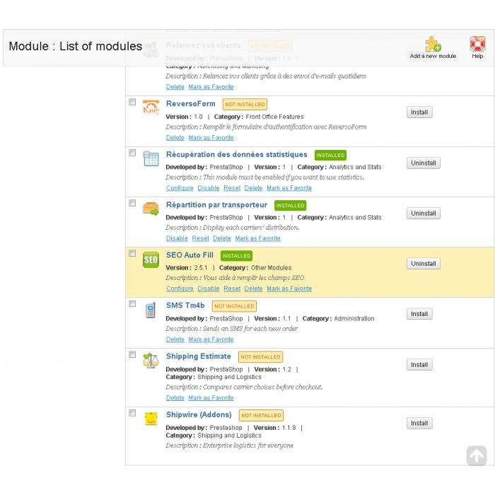 module - SEO (référencement naturel) - SEO (Référencement) - PrestaShop 1.4 - 6