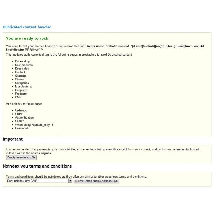 module - SEO (Indicizzazione naturale) - Duplicate Content handler - 2