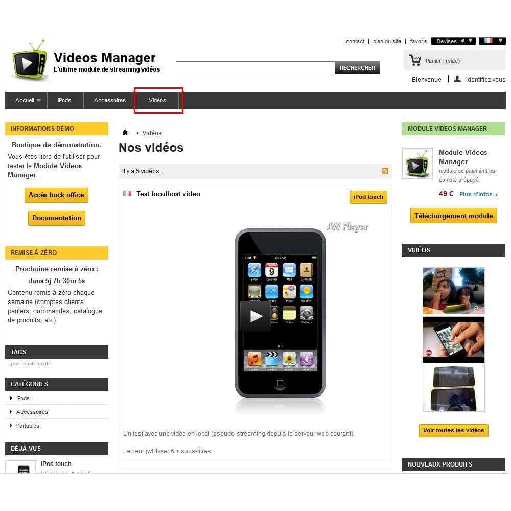 module - Vidéo & Musique - Videos Manager - Le module de streaming vidéos - 5