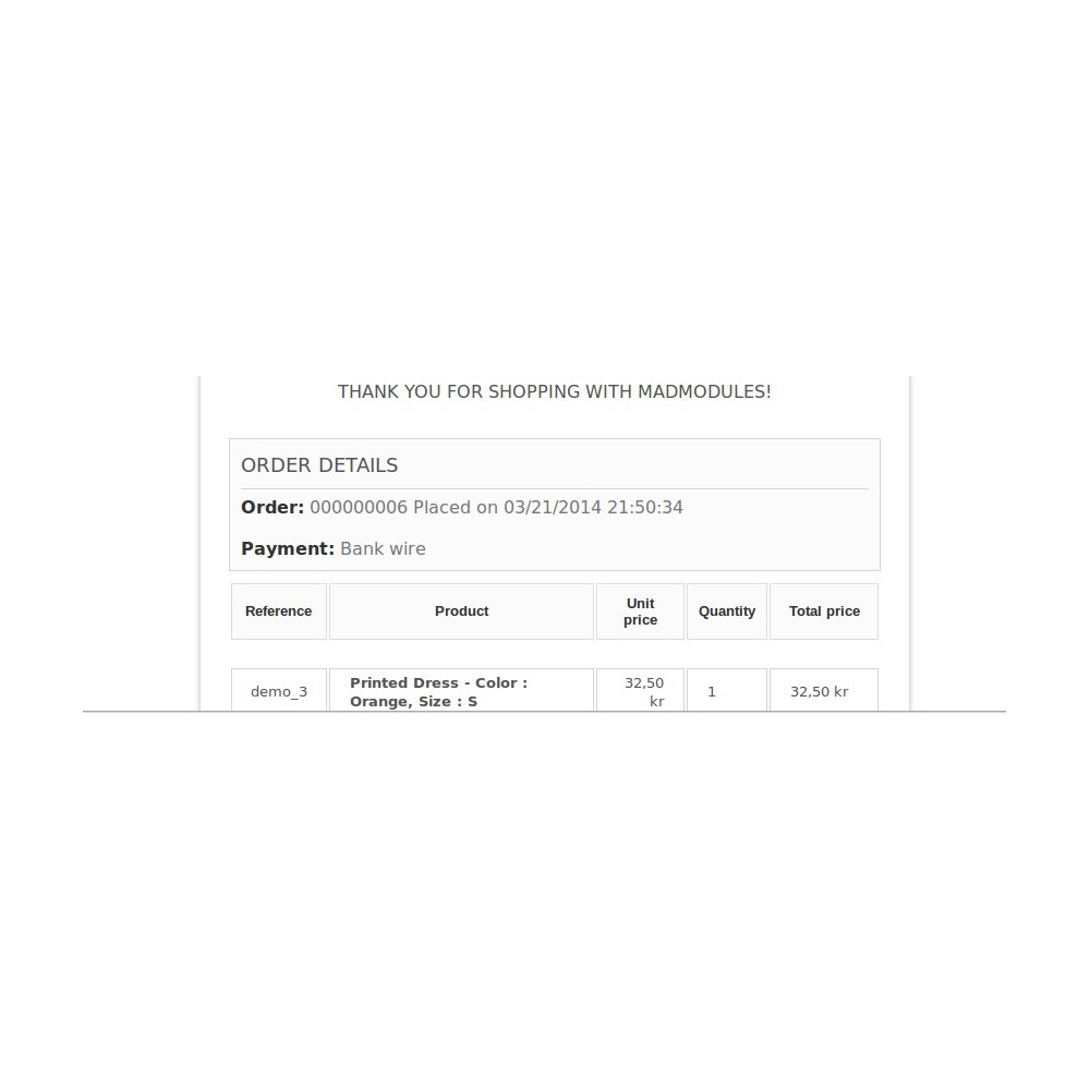 module - Gestion des Commandes - Order Reference Number - 7