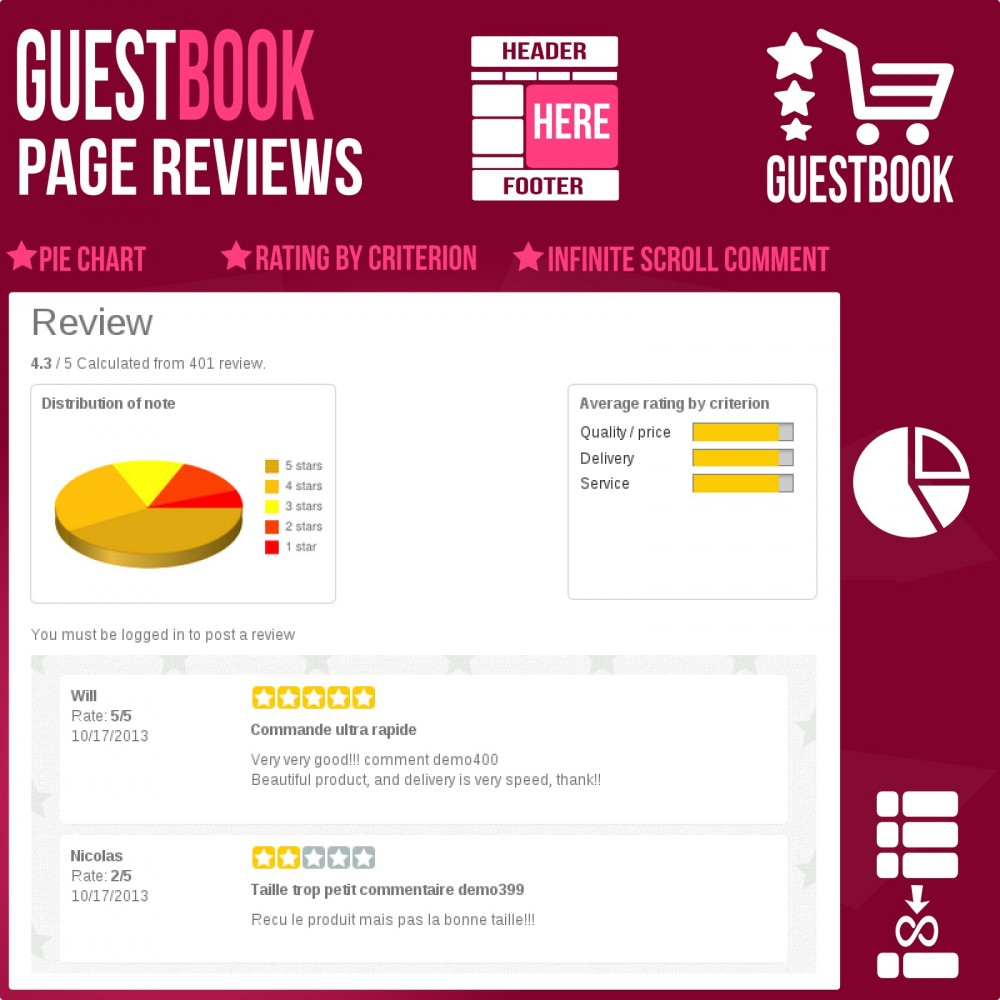 module - Customer Reviews - Guestbook orders customers reviews - 4