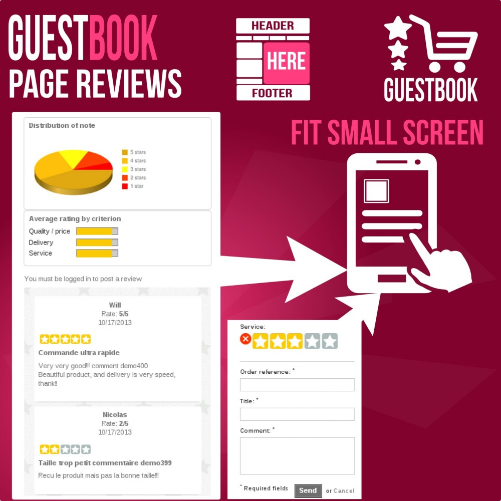 module - Customer Reviews - Guestbook orders customers reviews - 5