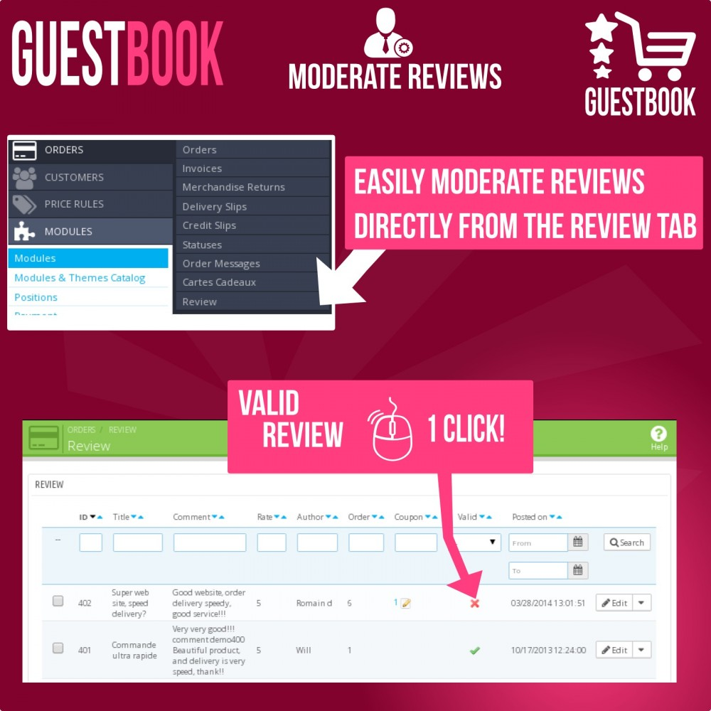 module - Отзывы клиентов - Guestbook orders customers reviews - 9