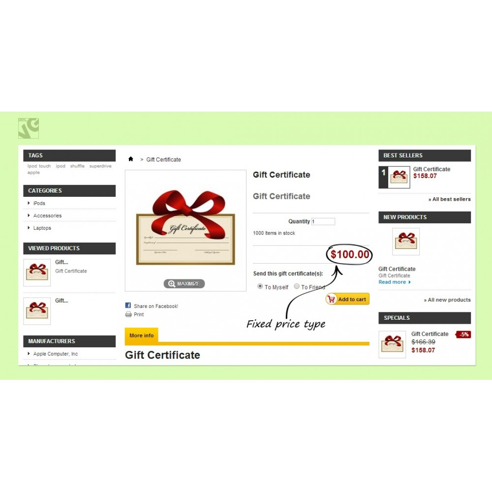 module - Whishlist & Gift Card - Gift Certificate - 7