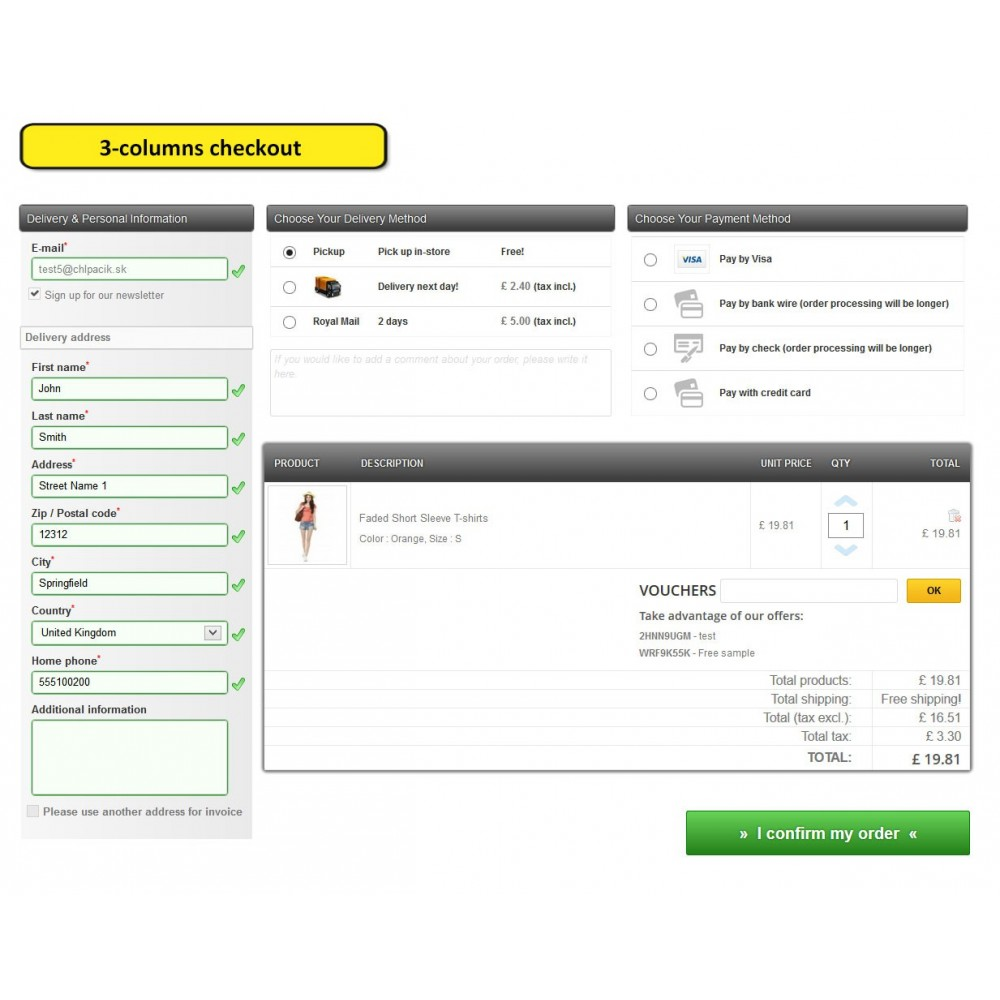 module - Processus rapide de commande - One page checkout for Prestashop - 7