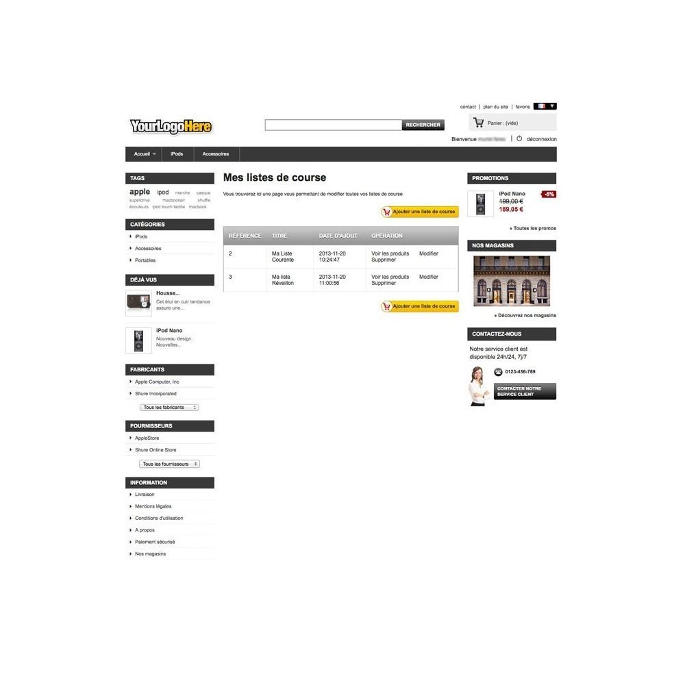 module - Liste de souhaits & Carte cadeau - Liste de Course / Produit favoris / Wishlist - 6