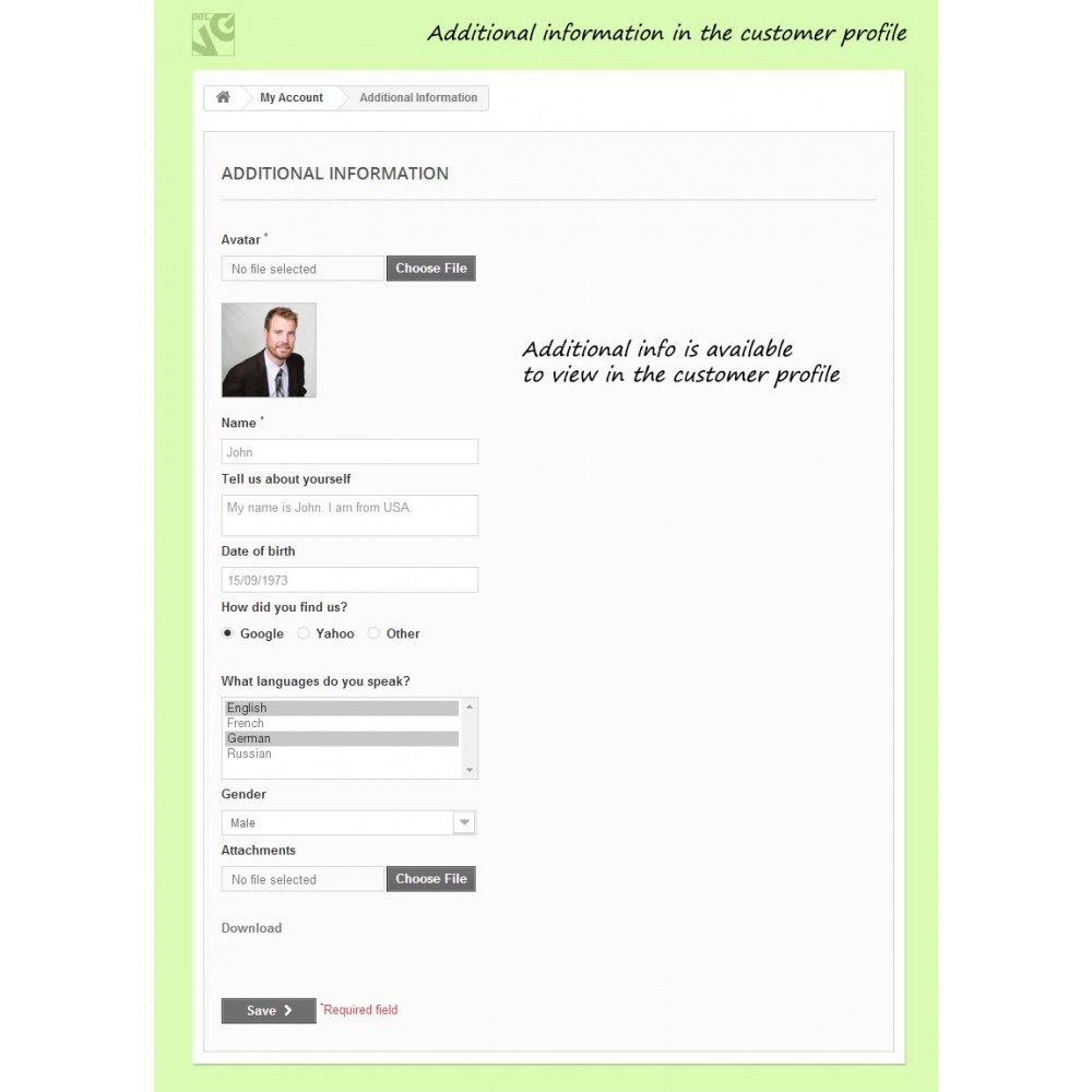 module - Iscrizione e Processo di ordinazione - Customer Attributes and Registration Fields - 6