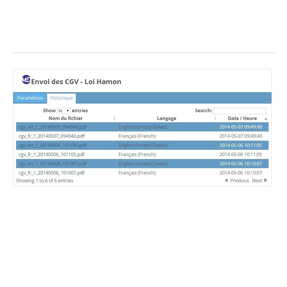 module - Législation (Loi Hamon) - Envoi des conditions générales de vente - Loi Hamon - 2