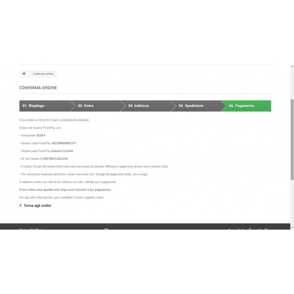 module - Vooruitbetaling - PostePay Module - 4