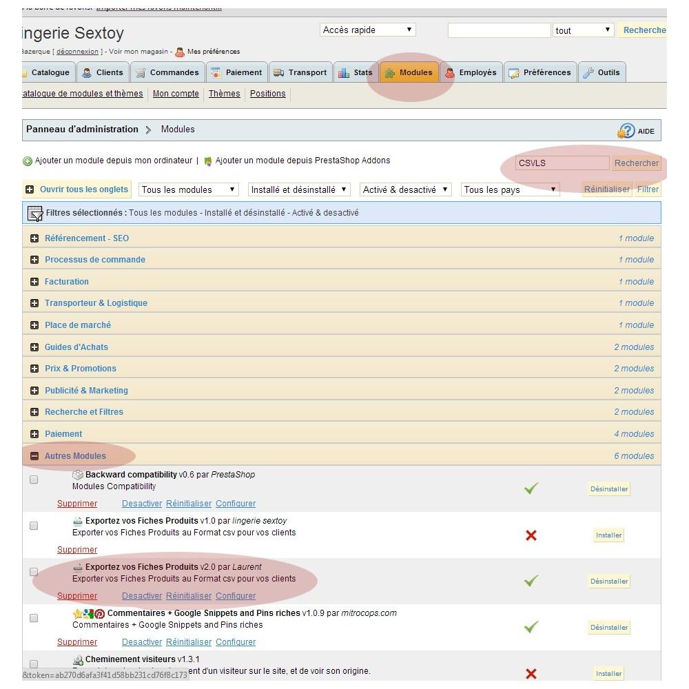 module - Import & Export de données - EXPORT CATALOGUE AU FORMAT CSV - CSVLS2 - 1