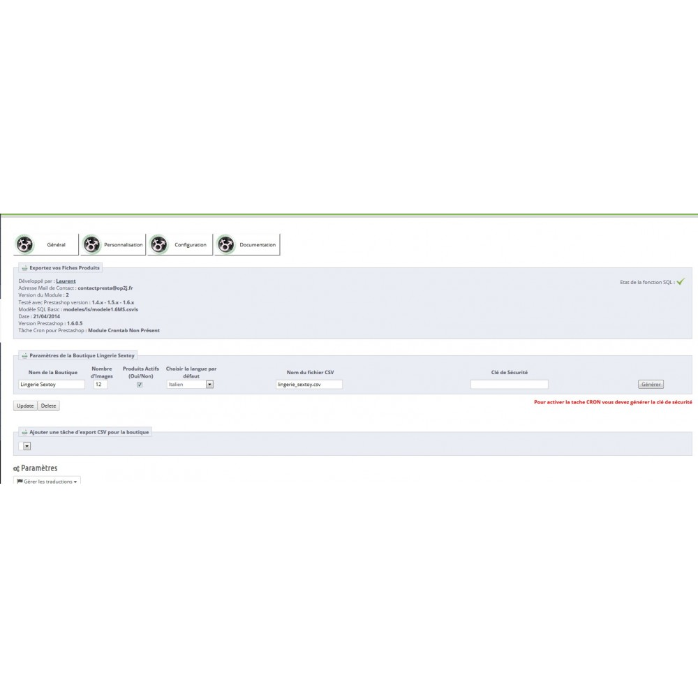 module - Import & Export de données - EXPORT CATALOGUE AU FORMAT CSV - CSVLS2 - 8