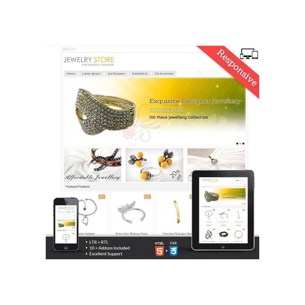 theme - Beauty & Jewelry - Jewelry Prestashop Theme - PRS020044 - 1