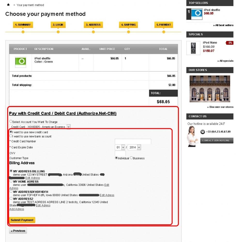module - Оплата банковской картой или с помощью электронного кошелька - Authorize.Net Customer Information Manager (CIM) - 8
