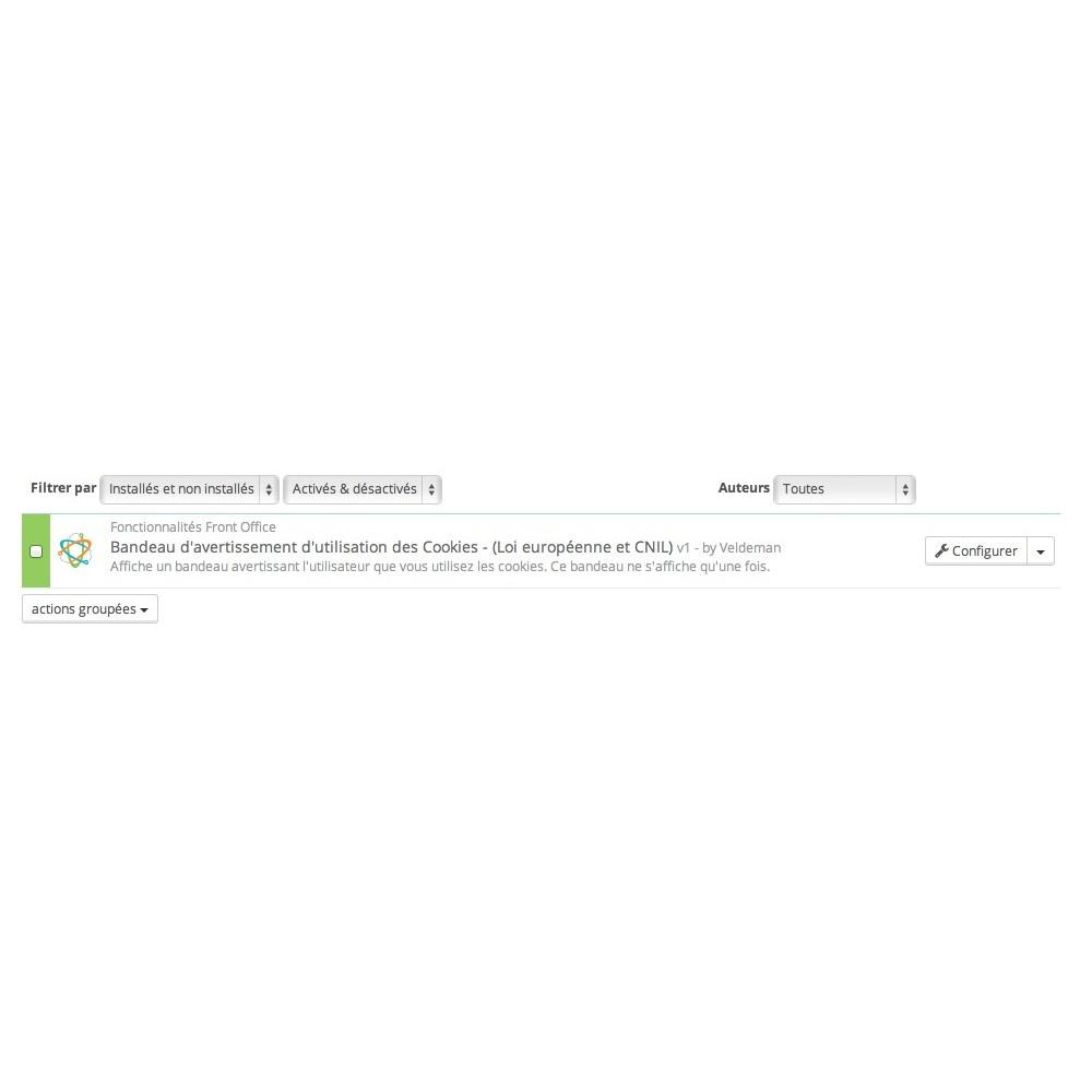 module - Législation (Loi Hamon) - Bandeau d'avertissement Cookies Loi européenne et CNIL - 2