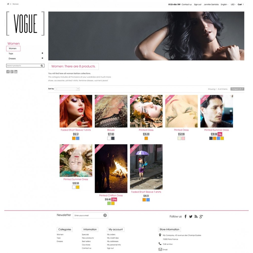 Vogue Parallax Masonry Prestashop Theme