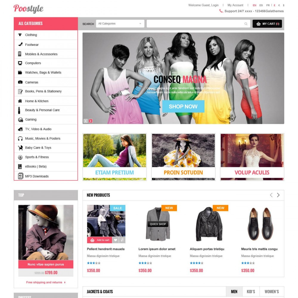 New fashion responsive prestashop theme et poostyle for Presta shop templates