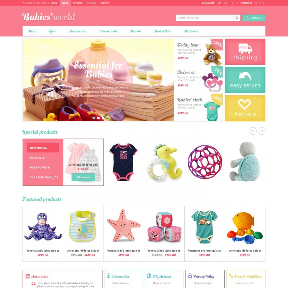 Prestashop Baby Apparel Online Template - ET Babies