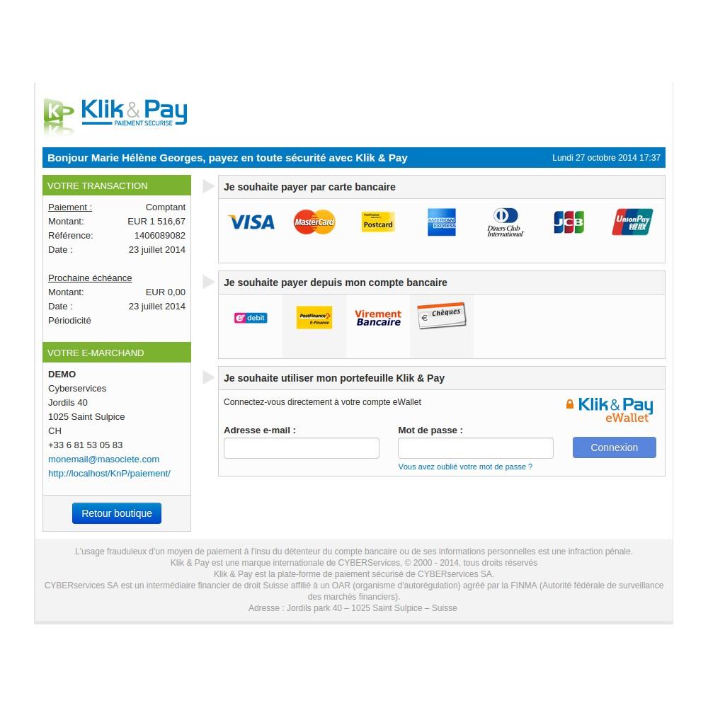 module - Оплата банковской картой или с помощью электронного кошелька - klikandpay - 2