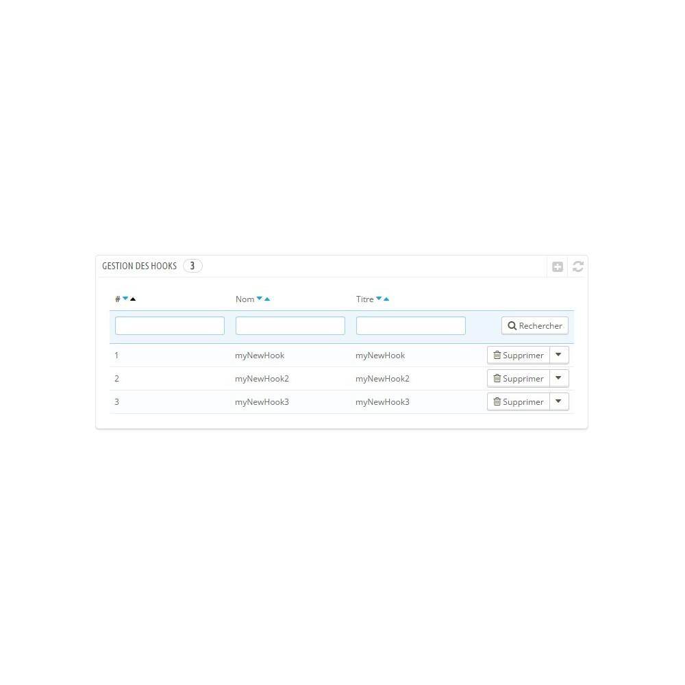 module - Narzędzia administracyjne - Hooks management - 2