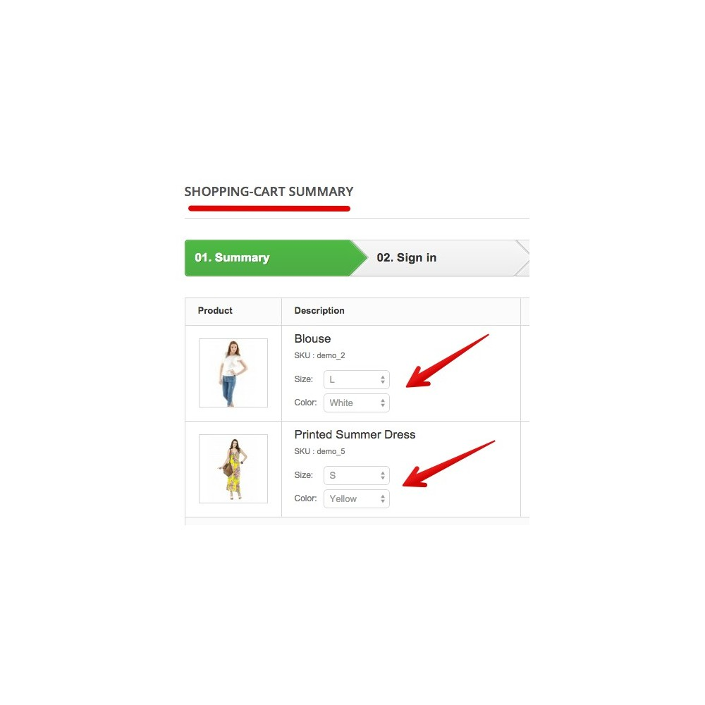 module - Registration & Ordering Process - Update attributes & combinations in cart - 1