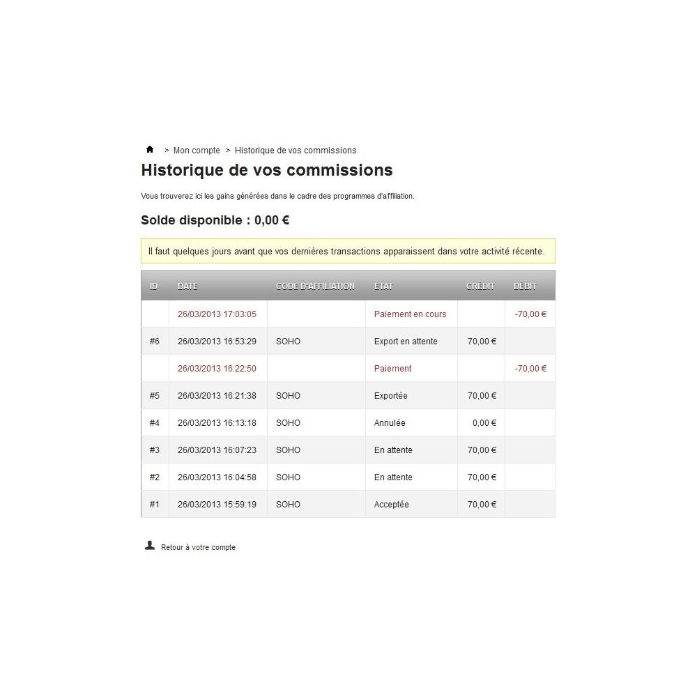 module - Fidélisation & Parrainage - Affiliation par bon de réduction - 2