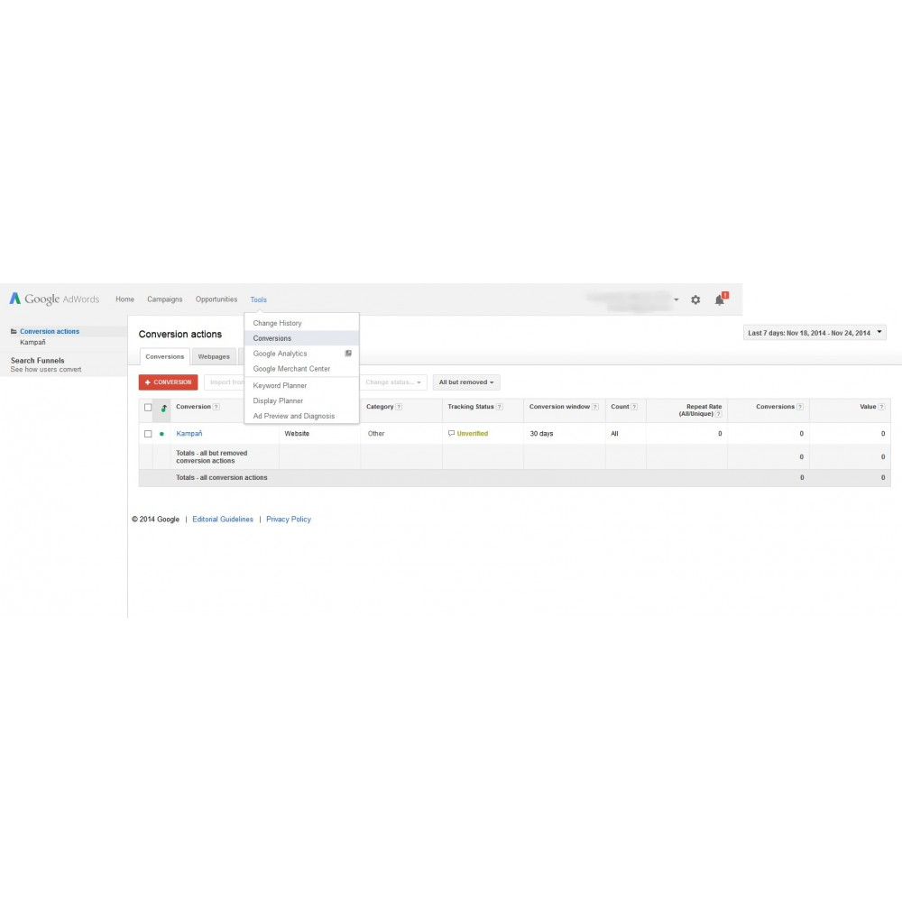 module - Análises & Estatísticas - Google AdWords Conversion Measurement (Tracking Pixel) - 3